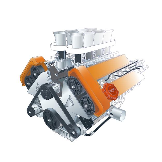 Technische illustration des motors Premium Vektoren
