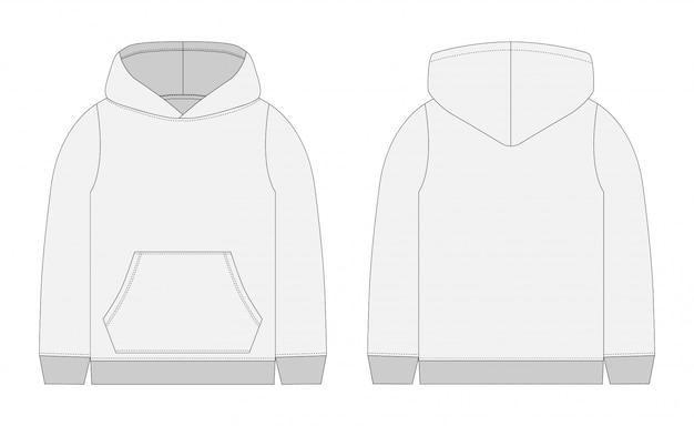 Technische skizze für männer grauer hoodie. vorder- und rückansicht. technische zeichnung kinderkleidung. sportbekleidung, lässiger urbaner stil Premium Vektoren