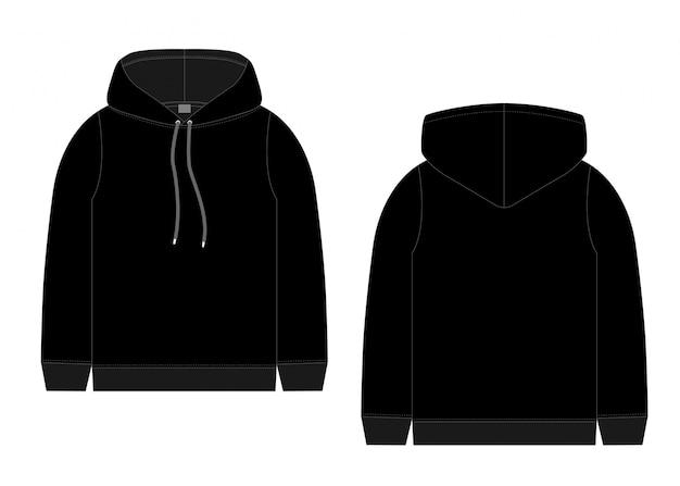 Technische skizze für männer schwarzen hoodie. vorder- und rückansicht. technische zeichnung kinderkleidung. sportbekleidung, lässiger urbaner stil. Premium Vektoren