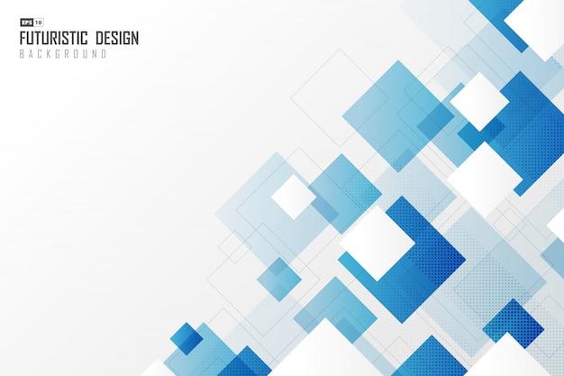 Technischer hintergrund der technologie des abstrakten farbverlaufs des blauen quadrats. Premium Vektoren