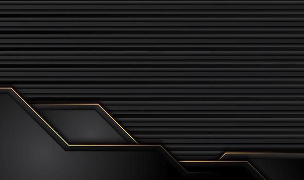 Technischer schwarzer hintergrund mit kontrastgelben streifen. Premium Vektoren