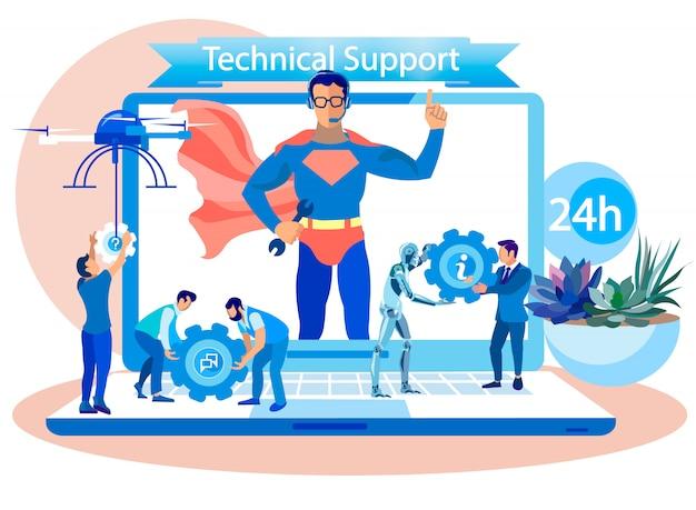 Technischer support 24 stunden am tag, cartoon flat. Premium Vektoren