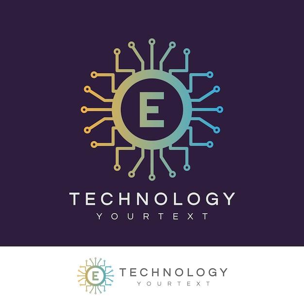 Technologie anfangsbuchstabe e logo design Premium Vektoren