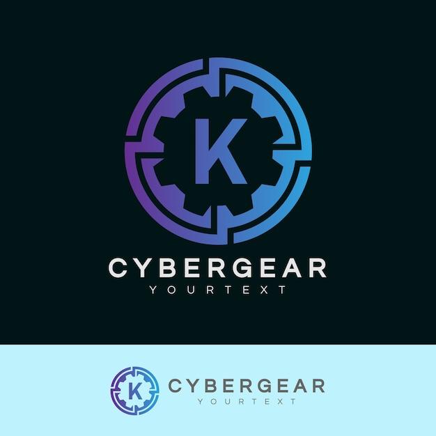 Technologie anfangsbuchstabe k logo design Premium Vektoren