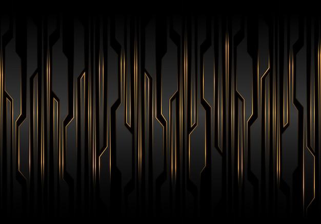 Technologie des gelben lichtes der technologie der schwarzen linie futuristischen musters. Premium Vektoren