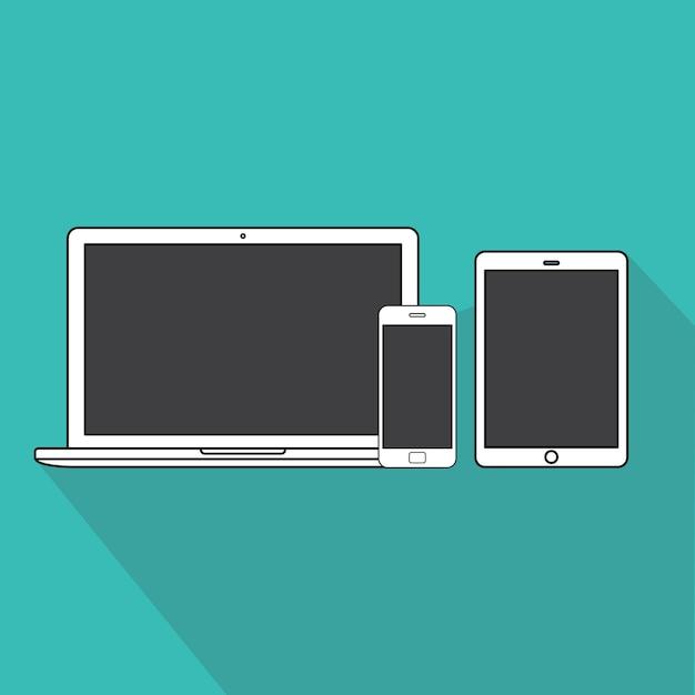 Technologie-digital-gerät-ikonen-vektor-konzept Kostenlosen Vektoren