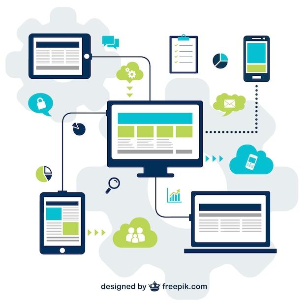 Technologie für die social-media-vektor Kostenlosen Vektoren