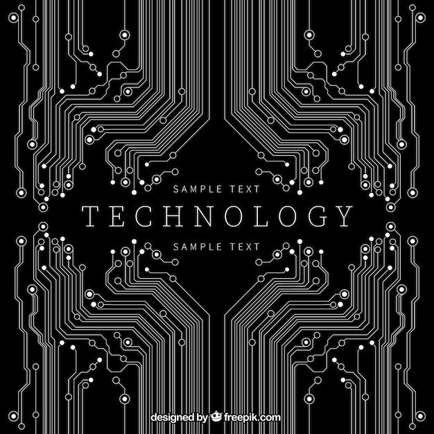 Technologie hintergrund in schwarzer farbe Kostenlosen Vektoren