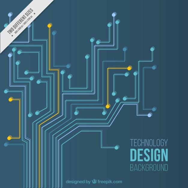 Technologie-Hintergrund mit orange und blau-Schaltungen | Download ...