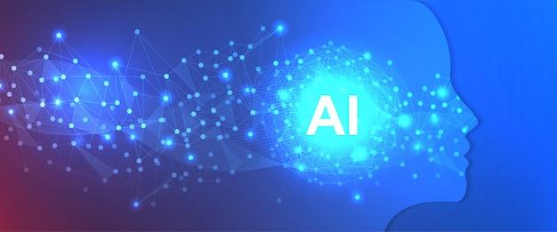Technologie-hintergrund-schablone der künstlichen intelligenz Premium Vektoren