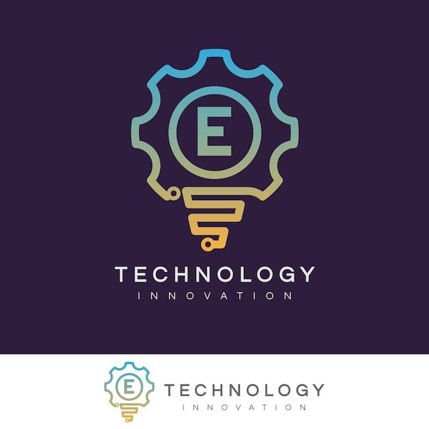 Technologie innovation anfangsbuchstabe e logo design Premium Vektoren