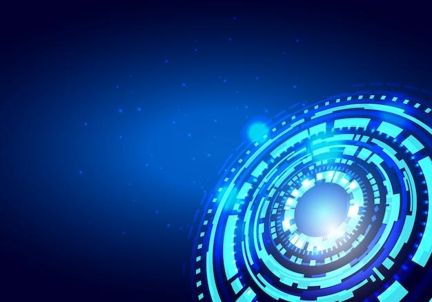 Technologie-innovationskonzept-vektorhintergrund des kreises blauer abstrakter Premium Vektoren