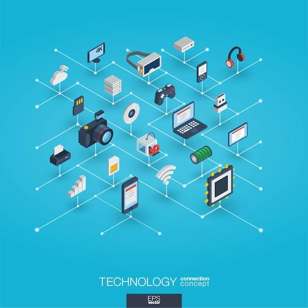 Technologie integrierte 3d-web-symbole. isometrisches konzept des digitalen netzwerks. Premium Vektoren