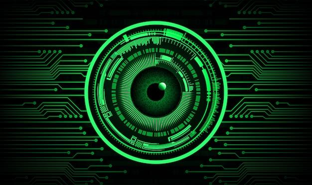 Technologie-konzepthintergrund des grünen augen cyber-stromkreises zukünftiger Premium Vektoren
