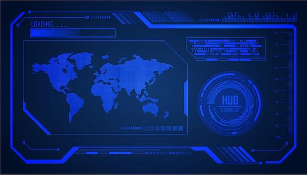 Technologie-konzepthintergrund des welt-hud-cyberstromkreises zukünftiger Premium Vektoren