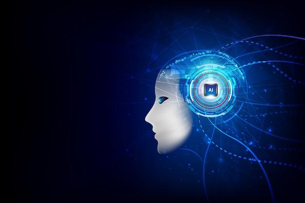Technologie künstliche intelligenz gehirn Premium Vektoren