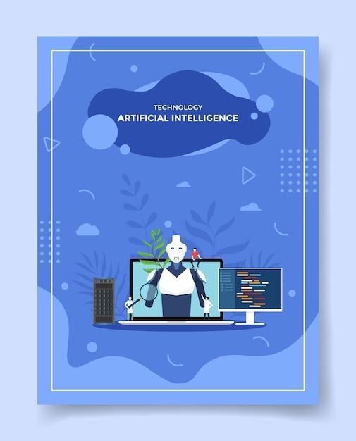 Technologie künstliche intelligenz konzept leute um laptop roboter cyborg für vorlage Premium Vektoren