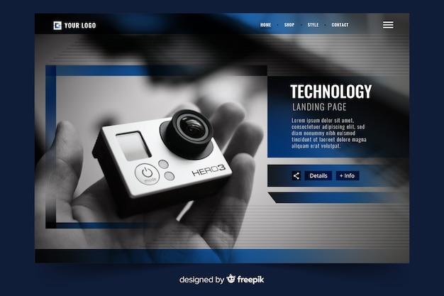 Technologie-landingpage mit foto Kostenlosen Vektoren
