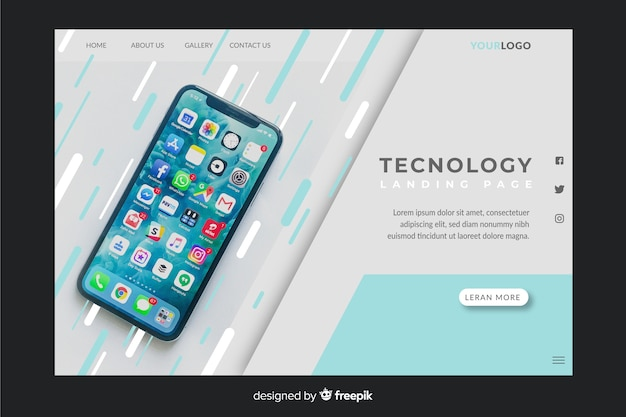 Technologie-landingpage mit iphone-foto Kostenlosen Vektoren