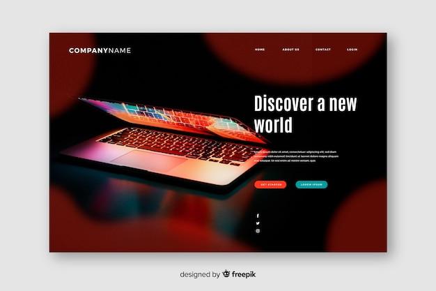 Technologie-landingpage mit laptop Kostenlosen Vektoren