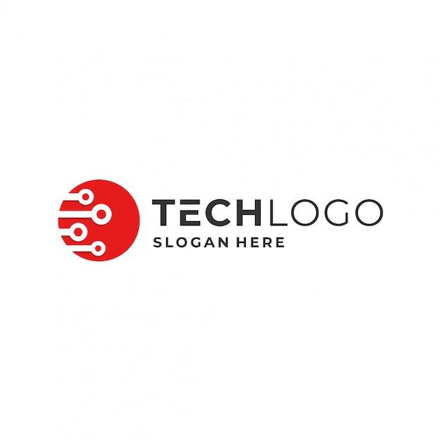 Technologie-logo-konzept. Premium Vektoren
