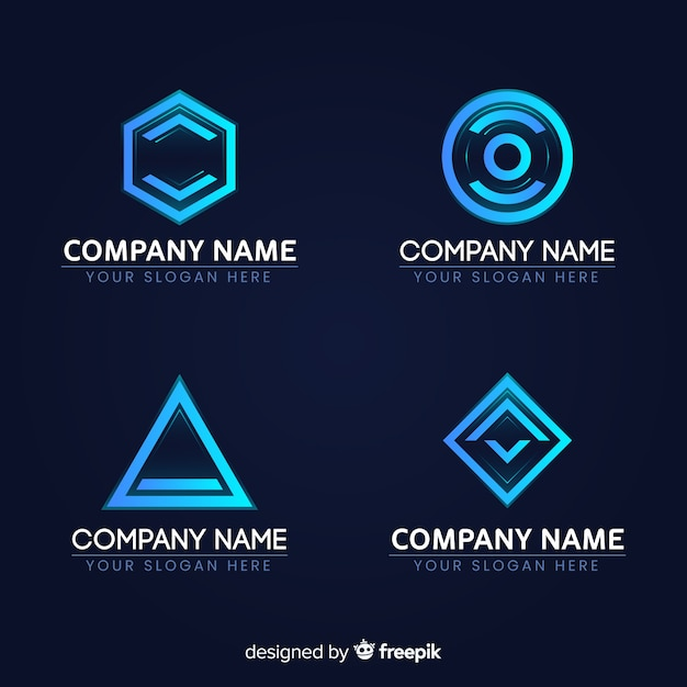 Technologie logo sammlung farbverlauf stil Kostenlosen Vektoren