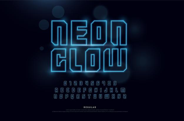 Technologie neon schriftart und zahlen alphabet Premium Vektoren