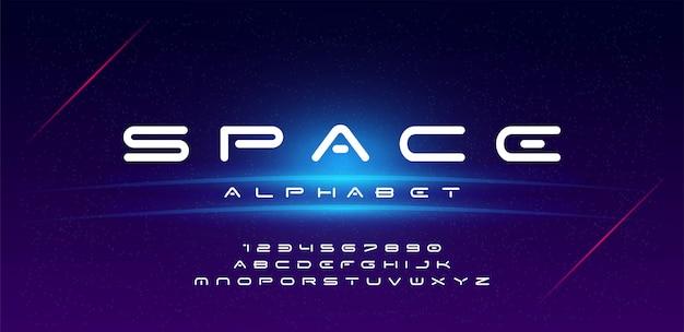 Technologie-raumschriftart und -alphabet Premium Vektoren
