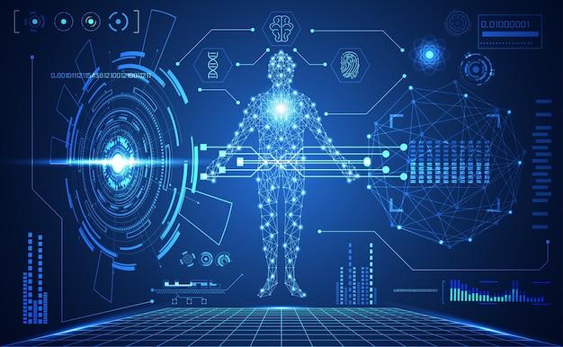 Technologie ui futuristische menschliche medizinische hud schnittstelle Premium Vektoren