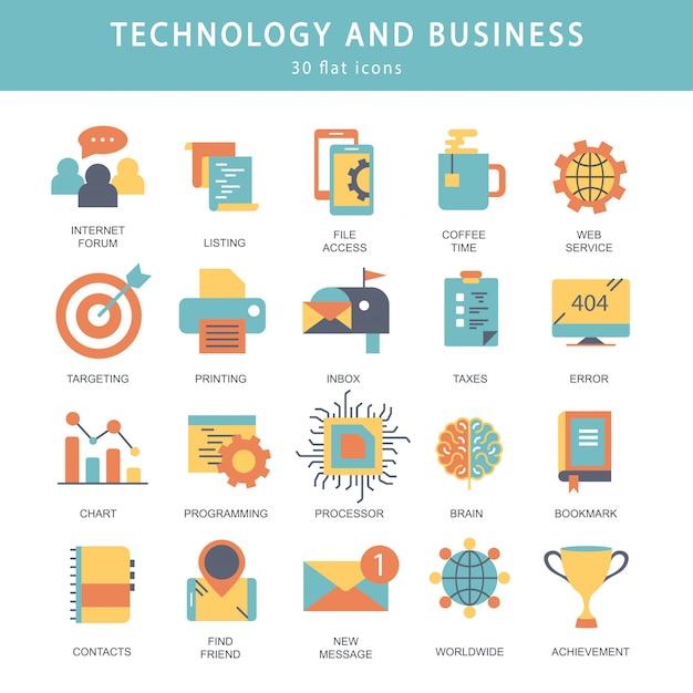 Technologie und business-icon-set Premium Vektoren