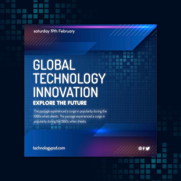 Technologie und zukünftige quadratische flyer-vorlage Kostenlosen Vektoren