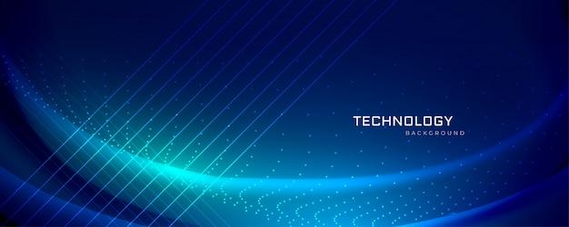 Technologiebanner-design mit lichteffekten Kostenlosen Vektoren