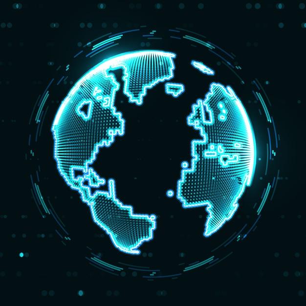 Technologiebild des globus Premium Vektoren