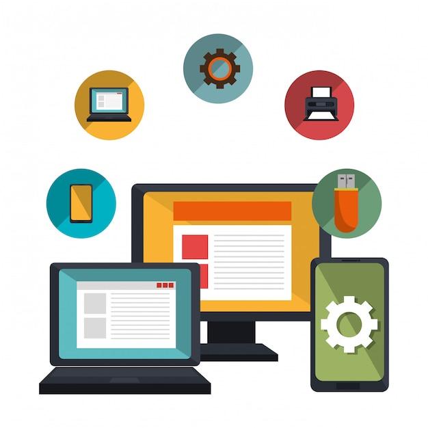 Technologiedienstleistungen illustration Kostenlosen Vektoren