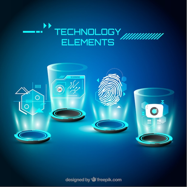 Technologieelementhintergrund in der realistischen art Kostenlosen Vektoren