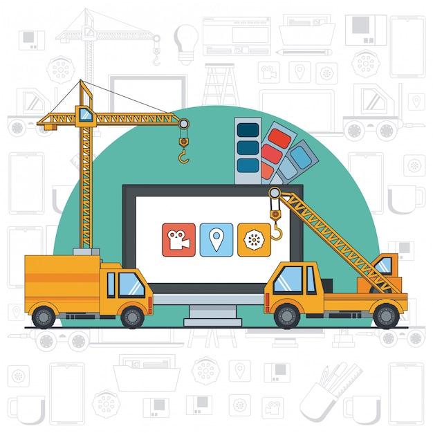 Technologiegerätwartungs-stützkarikatur Kostenlosen Vektoren