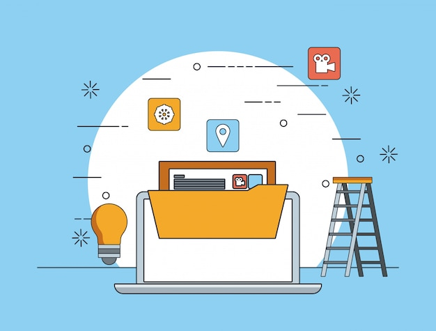 Technologiegerätwartungs-stützkonzeptkarikatur Kostenlosen Vektoren