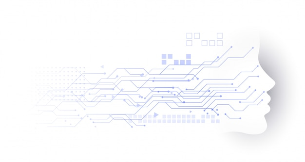 Technologiegesichtschaltungsdiagrammhintergrund Kostenlosen Vektoren