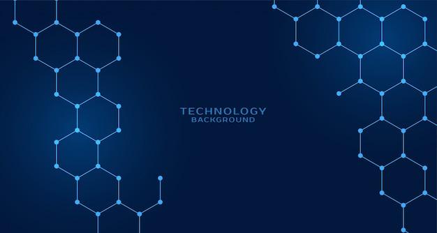 Technologiehintergrund der sechseckigen form Kostenlosen Vektoren