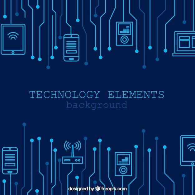 Technologiehintergrund mit geräten in der flachen art Kostenlosen Vektoren