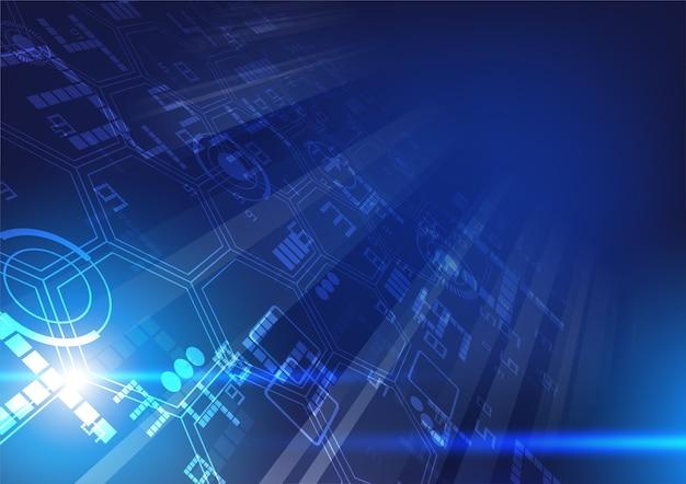 Technologieillustration mit blauem bewegungseffekt Premium Vektoren