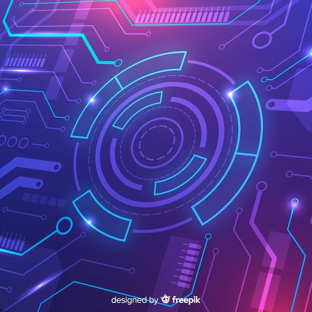 Technologiekonzepthintergrund mit neonlicht Kostenlosen Vektoren