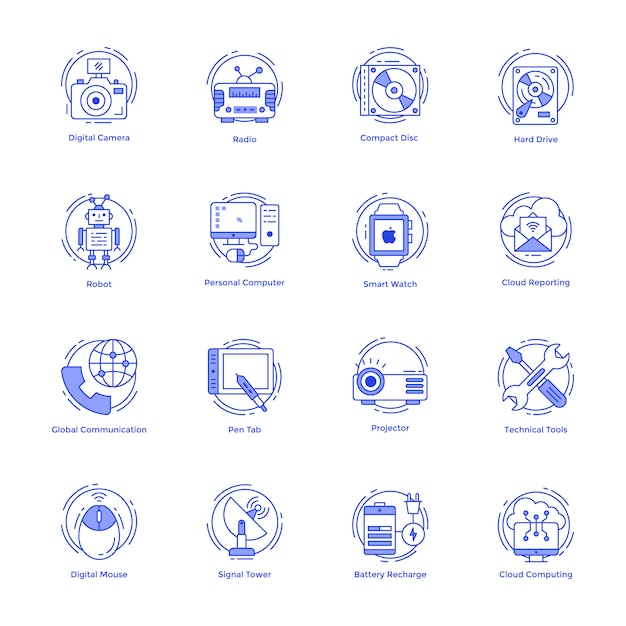 Technologielinie icons set Premium Vektoren