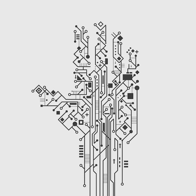 Technologieplakat-vektorillustration der computerschaltungsleiterplatte in der hand kreative Kostenlosen Vektoren