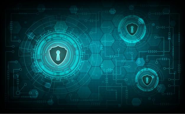 Technologiesicherheitssystemkonzept mit schild und schlüsselloch Premium Vektoren