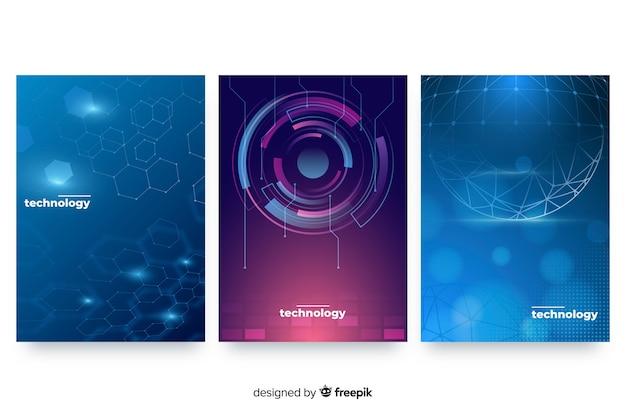 Technologiestil-broschüre eingestellt Kostenlosen Vektoren