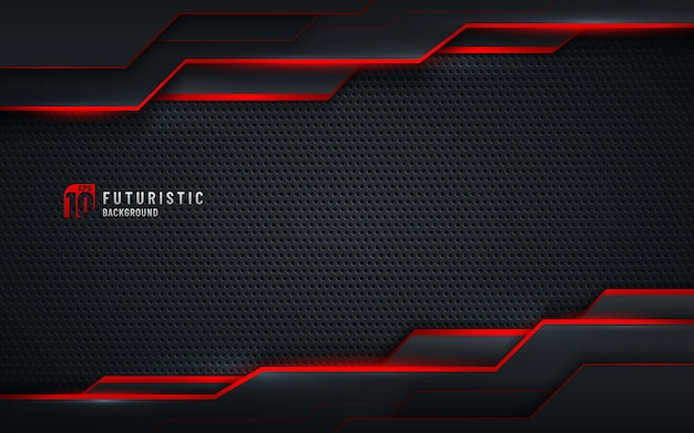 Technologievorlage schwarzer metalltexturhintergrund mit geometrischem muster und roten beleuchtungslinien. Premium Vektoren