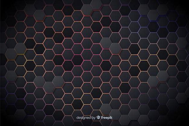 Technologische farbige lichter des bienenwabenhintergrundes Kostenlosen Vektoren
