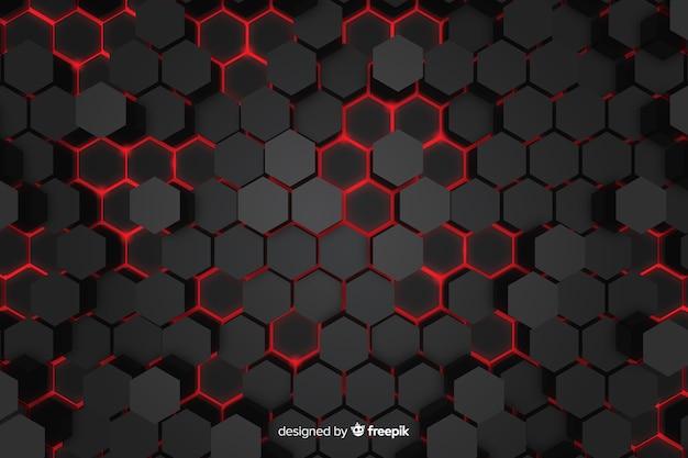 Technologische rote lichter des bienenwabenhintergrundes Premium Vektoren