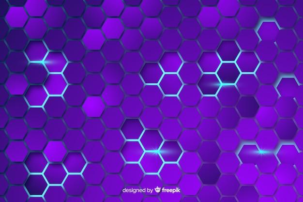 Technologischer bienenwabenpurpurhintergrund Premium Vektoren